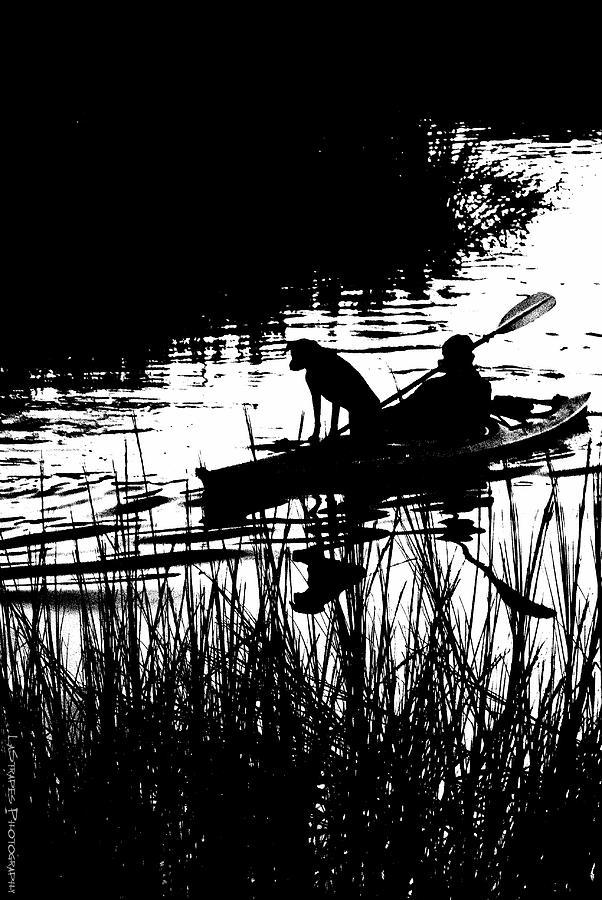 Dog Kayak Man Boat Shem Creek   Pyrography - Dogs Best Friend  by Gib LaStrapes