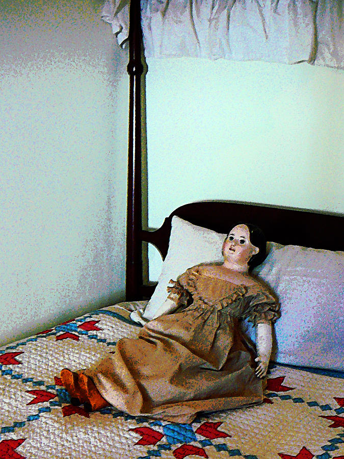 Doll Photograph - Doll On Four Poster Bed by Susan Savad