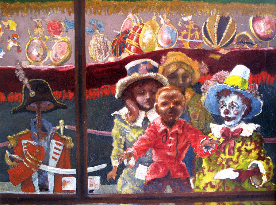Dolls Painting - Dolls In The Window by Wendell Upchurch
