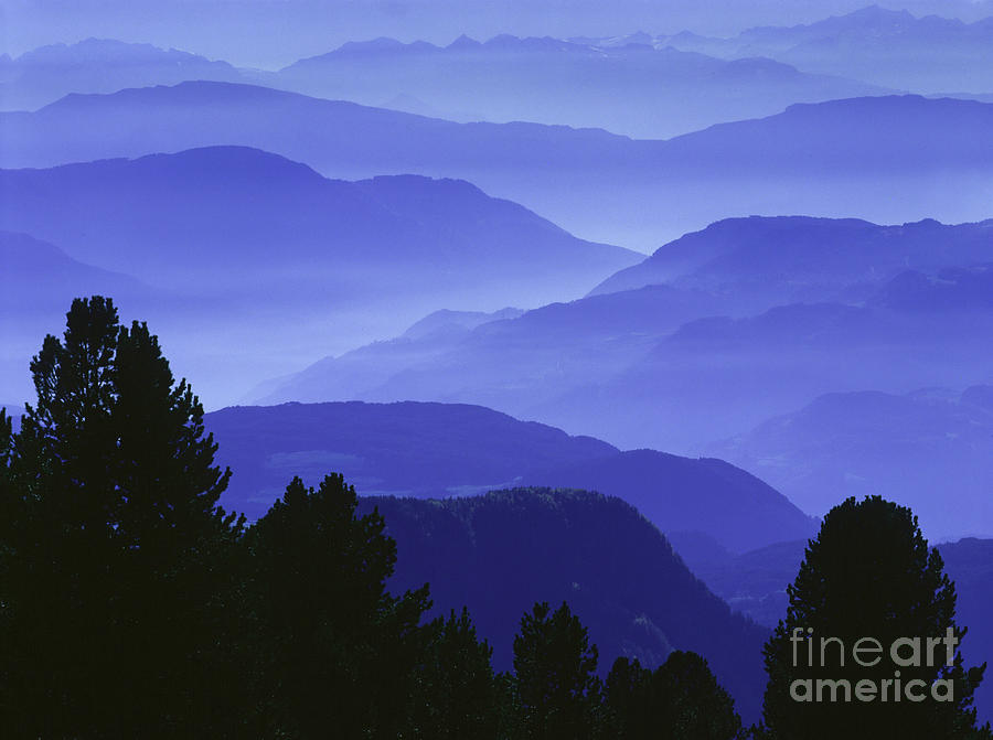 Blue Hour Photograph - Dolomites Landscape by Hermann Eisenbeiss and Photo Researchers