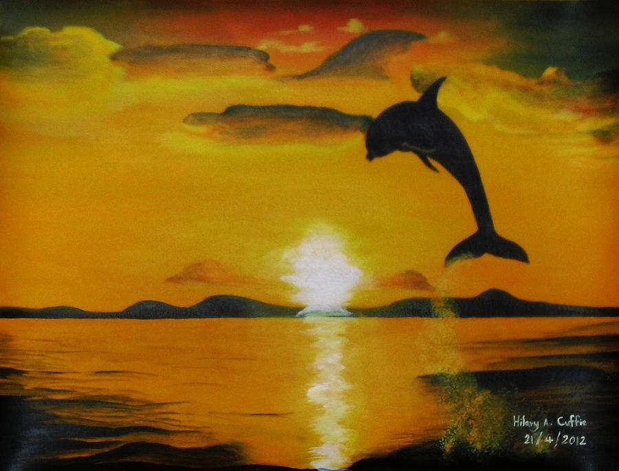 Dolphin In The Sunset Painting by Hilary Cuffie