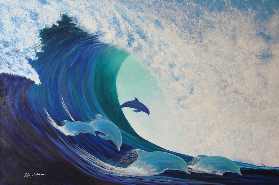 Dolphins Painting - Dolphin Wave by Jeffrey Oldham