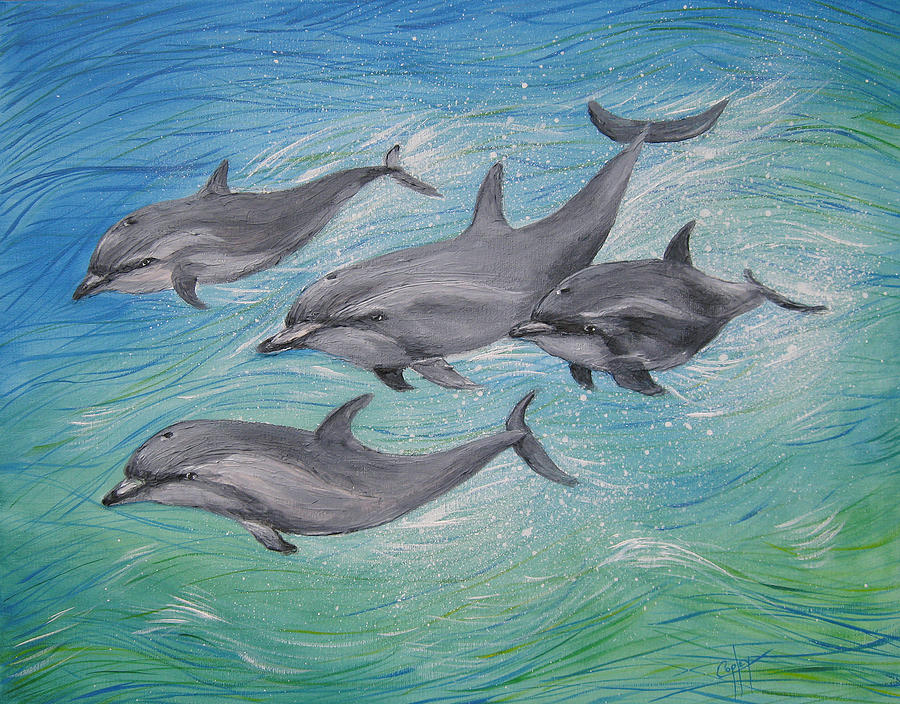 Dolphins Painting - Dolphins in motion by Karen Copley