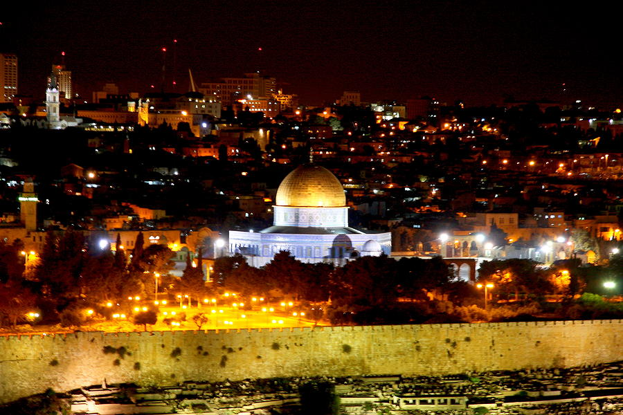 Dome Of The Rock By Night Photograph By Philip Neelamegam