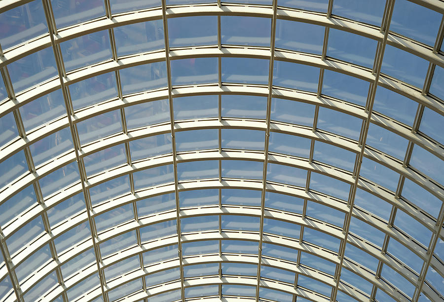 Domed Glass Roof Low Angle View Ful Frame Photograph By