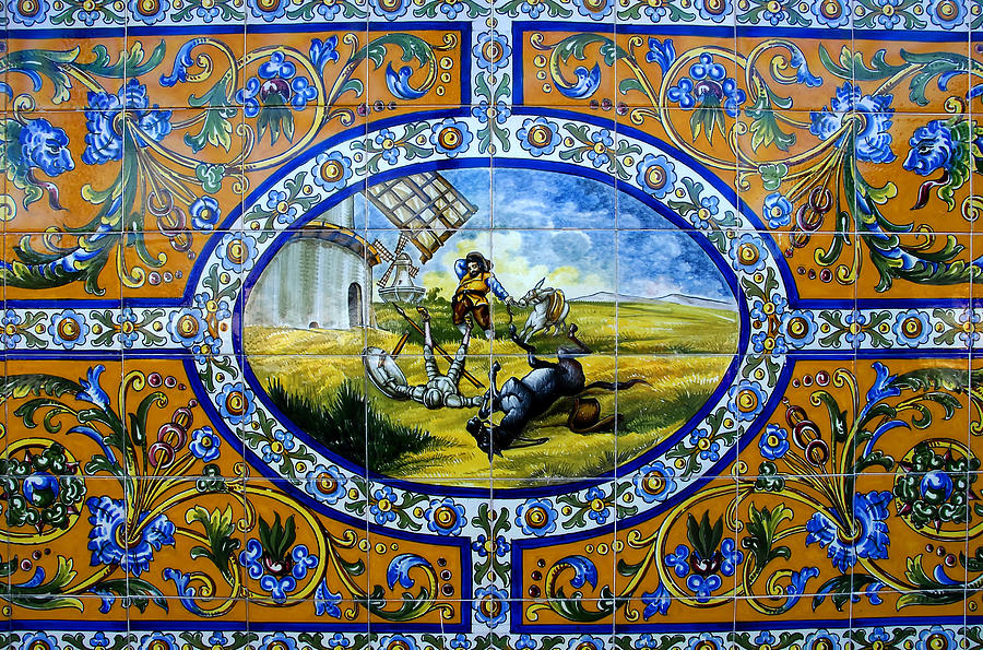 Don Quixote In Spanish Tile Photograph by David Lee Thompson