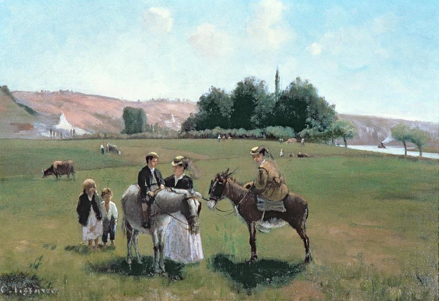 Donkey Ride At La Roche-guyon Painting - Donkey Ride by Camille Pissarro