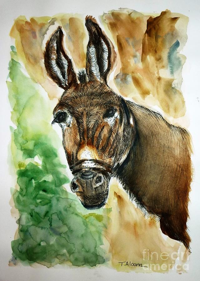 Donkey Painting - Donkey by Therese Alcorn