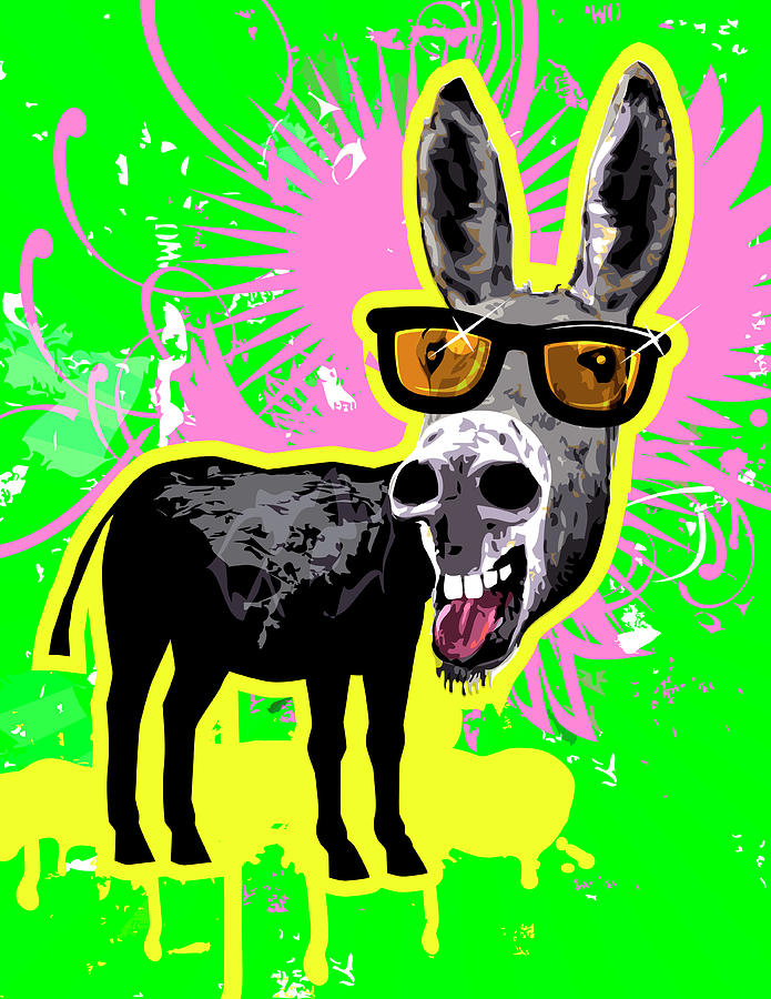 Vertical Digital Art - Donkey Wearing Sunglasses, Laughing by New Vision Technologies Inc