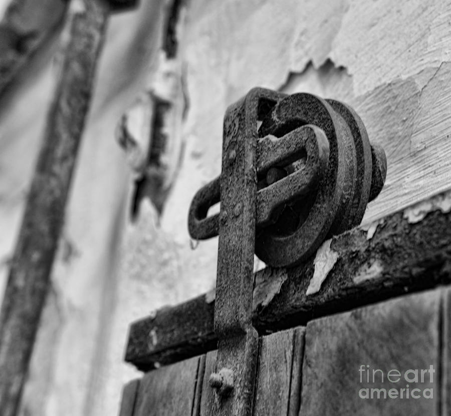 Antique Photograph - Door - Pulley - Black And White by Paul Ward & Door - Pulley - Black And White Photograph by Paul Ward