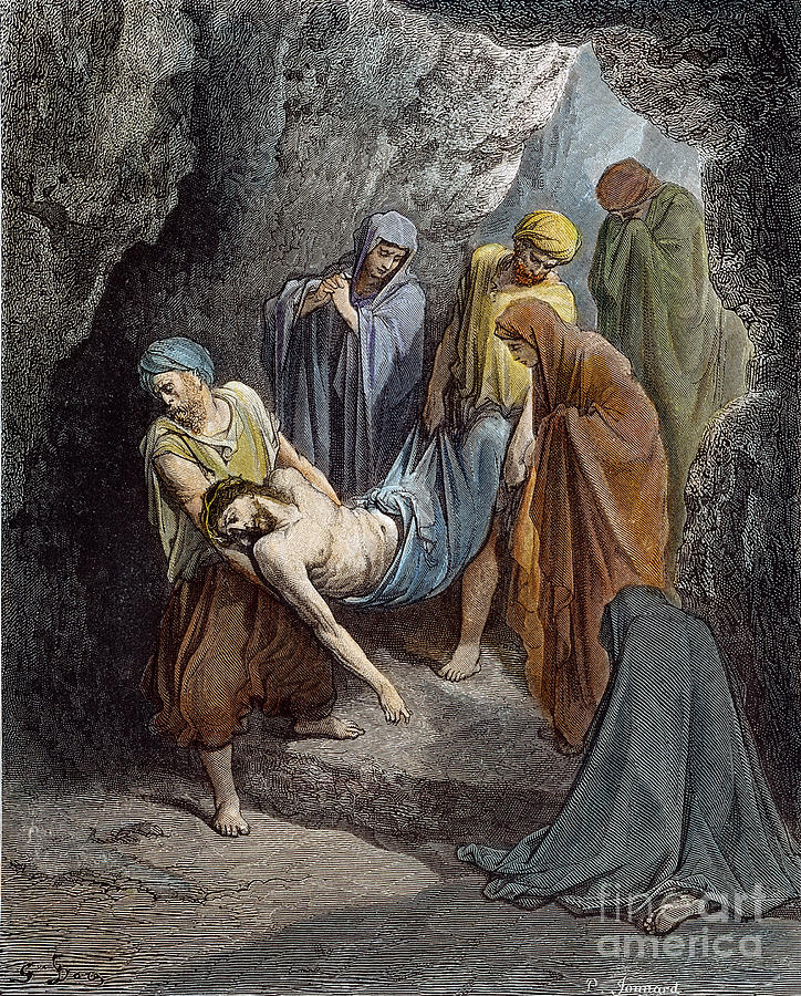 19th Century Drawing - Burial Of Jesus by Gustave Dore