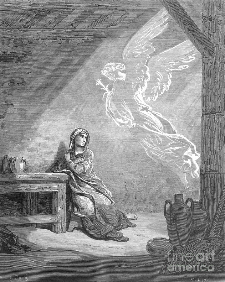 Annunciation Photograph - Dor�: The Annunciation by Granger