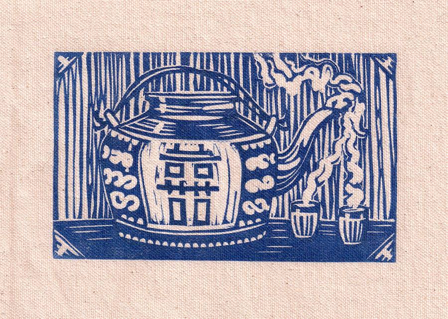 Tibetan Teapot Drawing - Double Happiness by Jennifer Harper