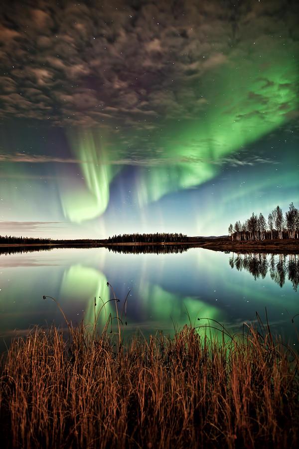 Aurora Photograph - Double Reflections by Ronald Lafleur