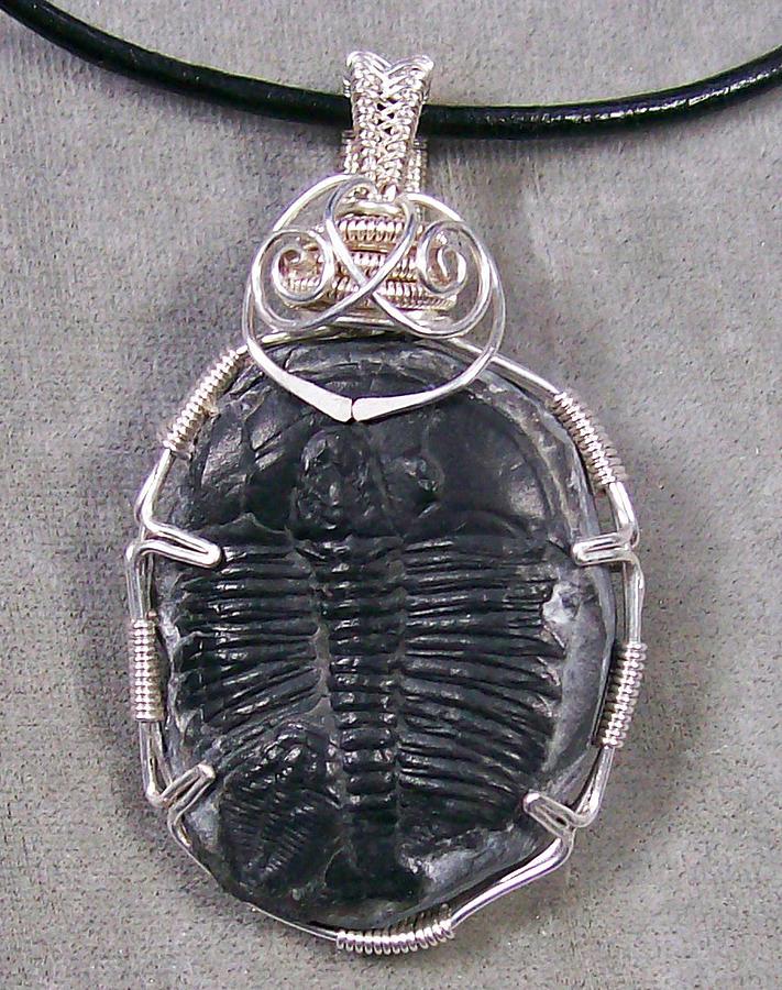 Pendant Jewelry - Double Trilobite Fossil Piggyback Pendant by Heather Jordan