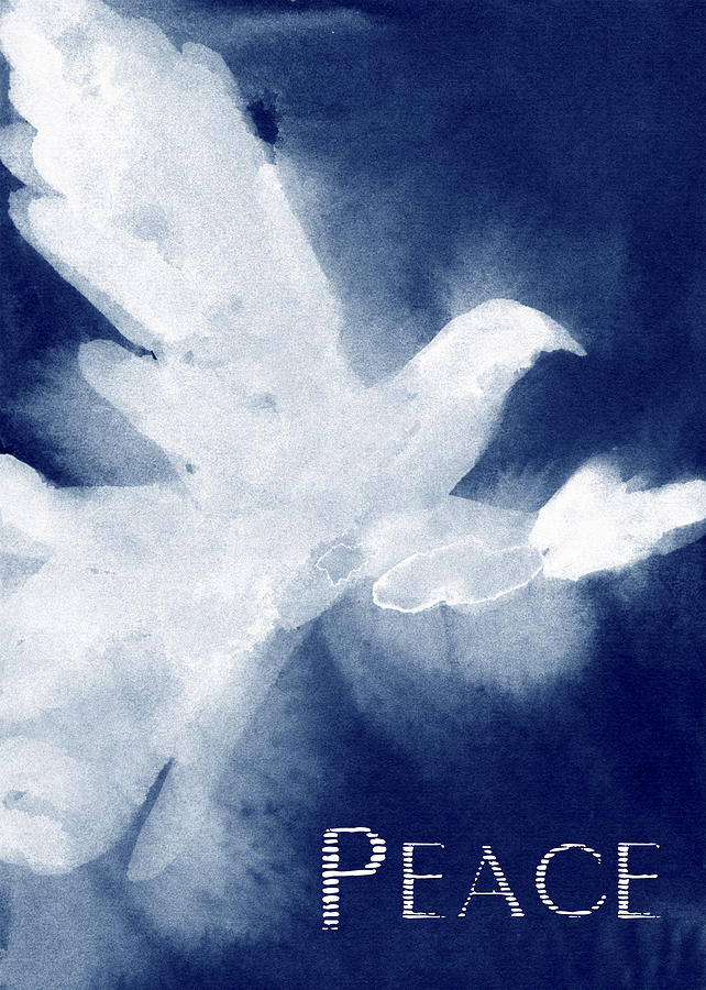 White Dove Painting - Dove Peace Holiday Card by Beverly Brown Prints