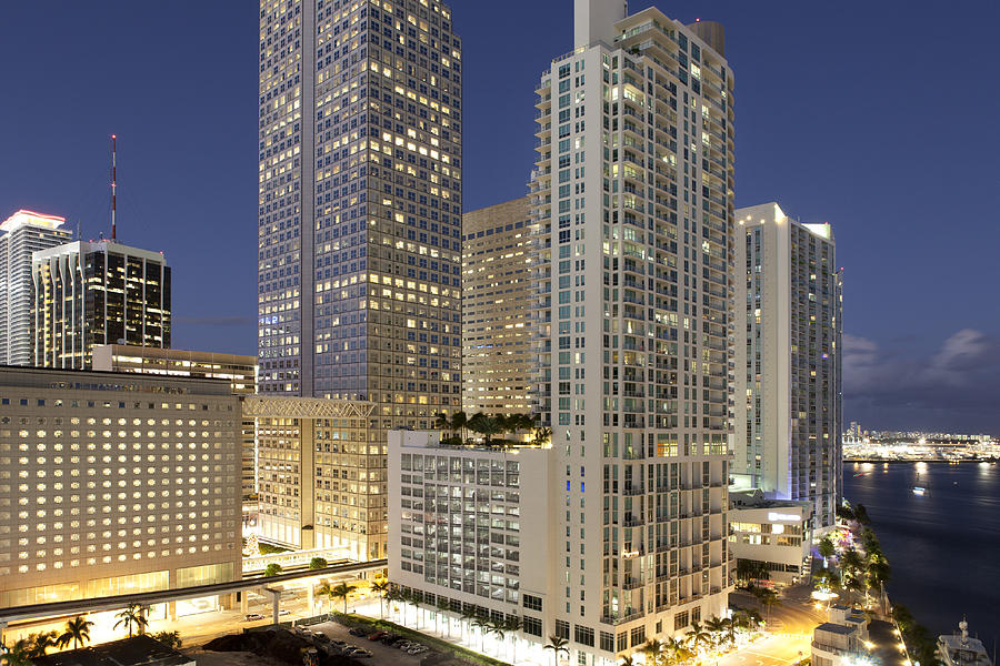 Horizontal Photograph - Downtown Miami At Dusk by Marcaux