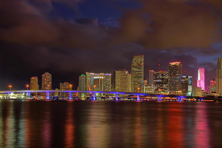 Usa Photograph - Downtown Miami At Night by Claudia Domenig