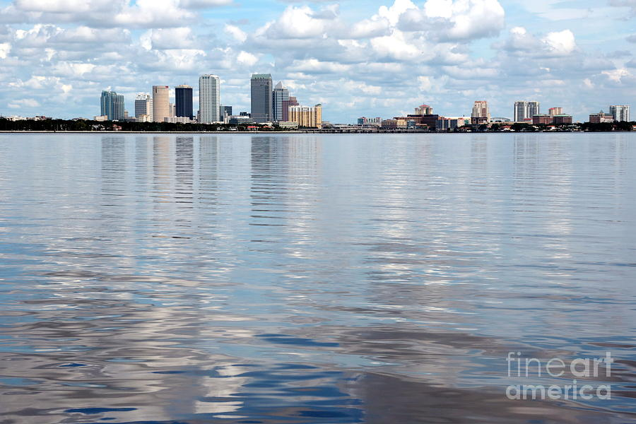 Tampa Photograph - Downtown Tampa Over Hillsborough Bay by Carol Groenen