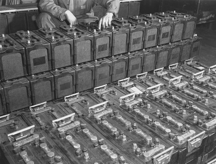History Photograph - Dozens Of 12 Volt Rechargeable by Everett