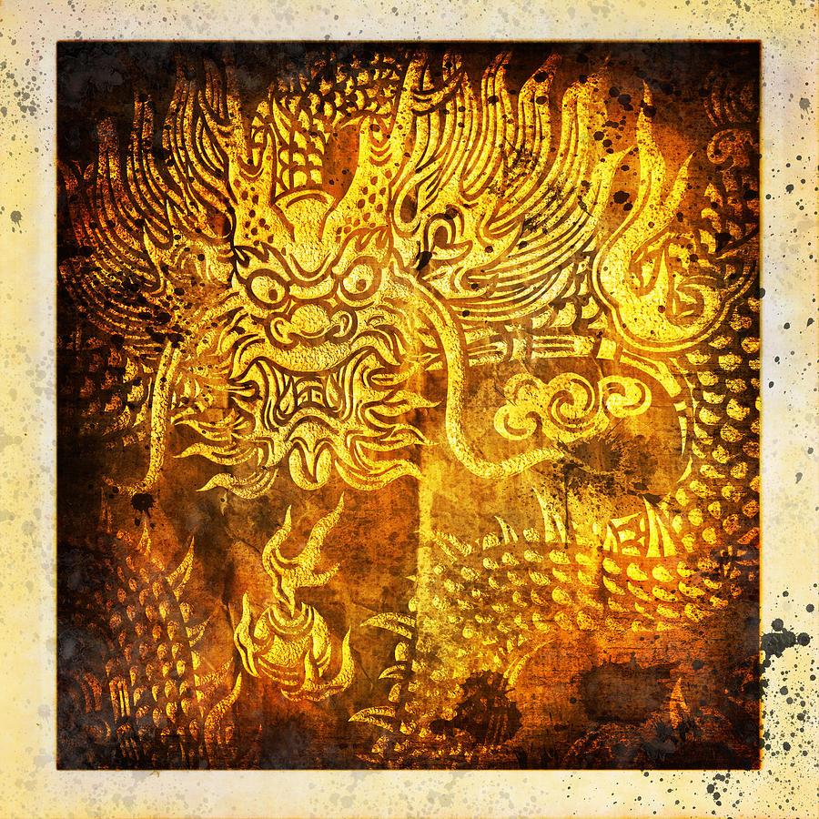 Abstract Painting - Dragon Painting On Old Paper by Setsiri Silapasuwanchai