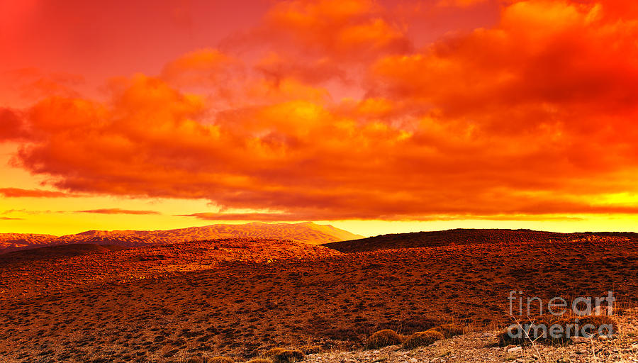Africa Photograph - Dramatic Red Sunset At Desert by Anna Om