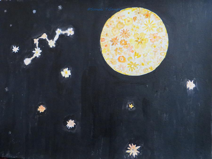 Floral Moon Starry Night Painting - Dream by Sonali Gangane