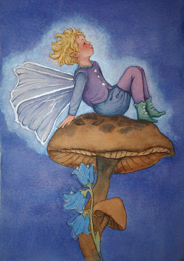 Watercolor Painting Painting - Dreaming Fairy by Leslie Redhead