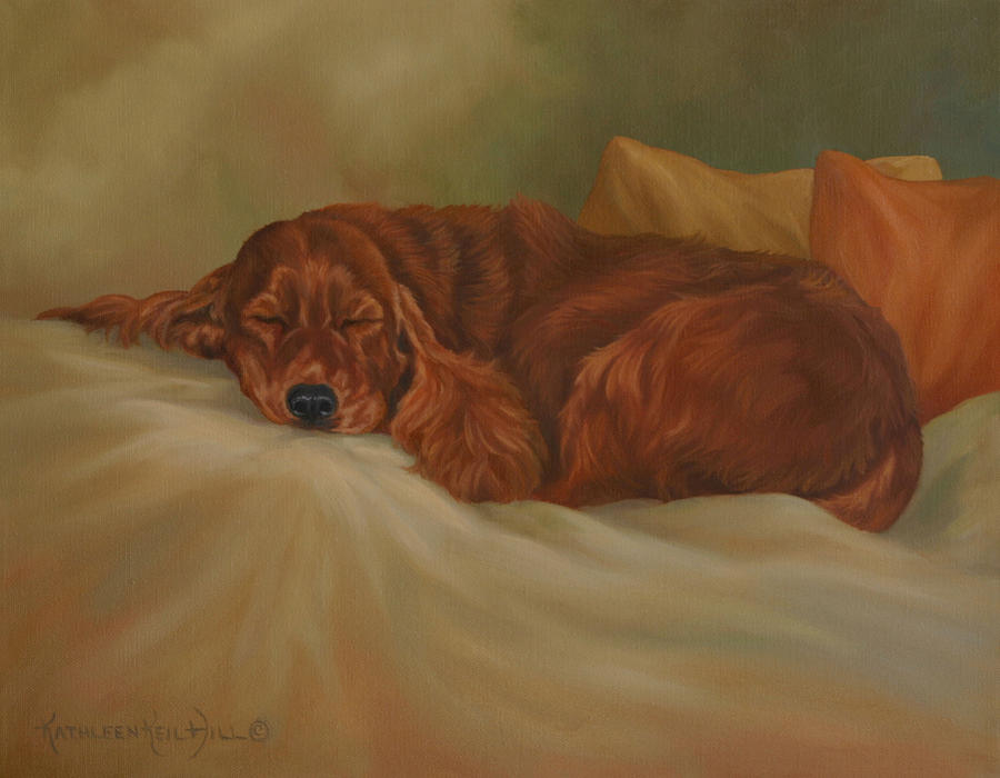 Dog Painting - Dreaming by Kathleen  Hill