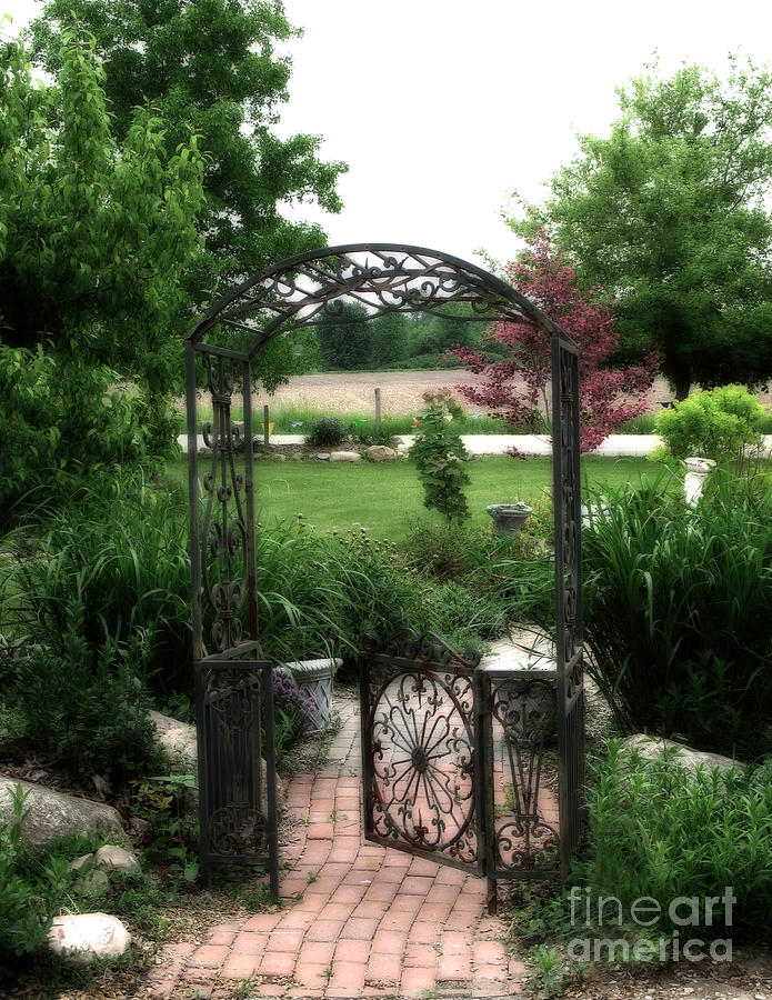 Romantic Gardens Photograph - Dreamy French Garden Arbor And Gate by Kathy Fornal