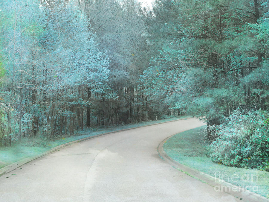 Surreal Landscape Photograph - Dreamy Teal Aqua Blue Nature Trees by Kathy Fornal