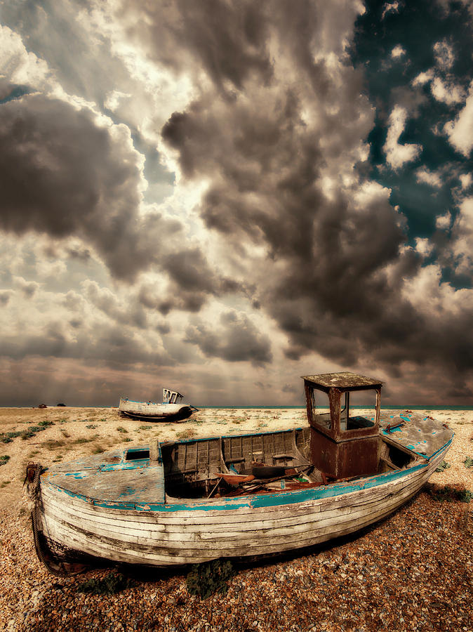 Dungeness Photograph - Dreamy Wrecked Wooden Fishing Boats by Meirion Matthias