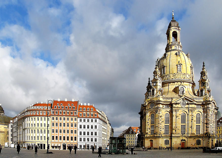 Temples Photograph - Dresden Church Of Our Lady And New Market by Christine Till