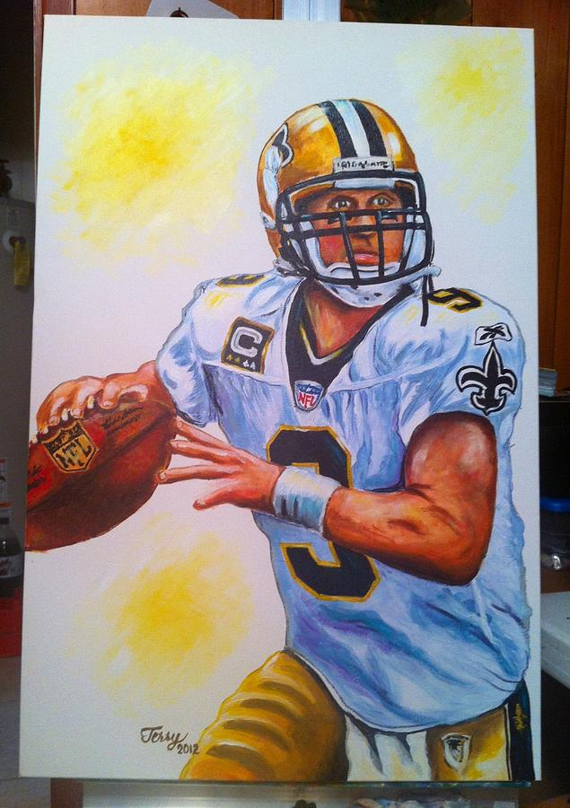 Drew Brees Painting by Terry J Marks Sr