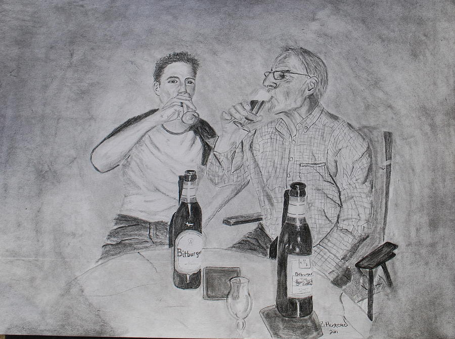 Portrait Drawing - Drinking Buddies by Brian Hustead