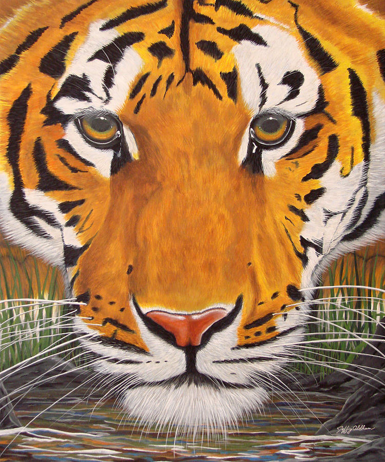 Tiger Painting - Drinking Tiger by Jeffrey Oldham