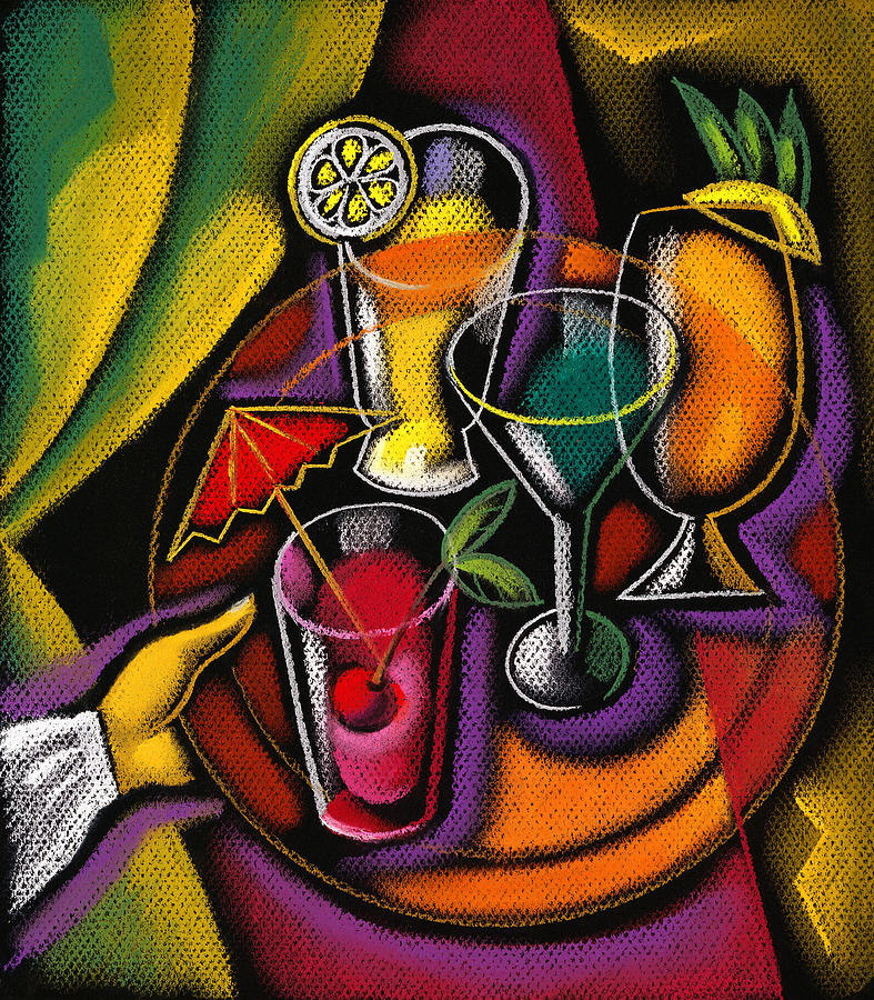 Color Image Concept Day Fish Food And Drink Fork Freshness Glass Grape Healthy Eating Illustration Illustration And Painting Large Group Of Objects Lemon Lifestyle Nature Nobody Nutrition Ocean Organic Outdoors Red Wine Seafood Slice Still Life Summer Sun Sunny Variety Vertical Wine Wine Glass Alcohol Animal Assortment Close-up Color Colour Cutlery Daytime Drawing Food Fresh Fruit Group Health Lifestyles Natural Outside Sea Still-life Summertime Sunshine Water Decorative Art Abstract  Painting - Drinks by Leon Zernitsky