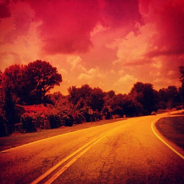 Pink Photograph - #driving #sky #clouds #road #summer by Katie Williams