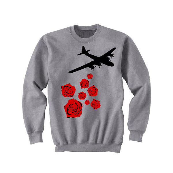 Bouquets Tapestry - Textile - Drop Bouquets Not Bombs Custom Painted Crewneck Sweatshirt by Joseph Boyd
