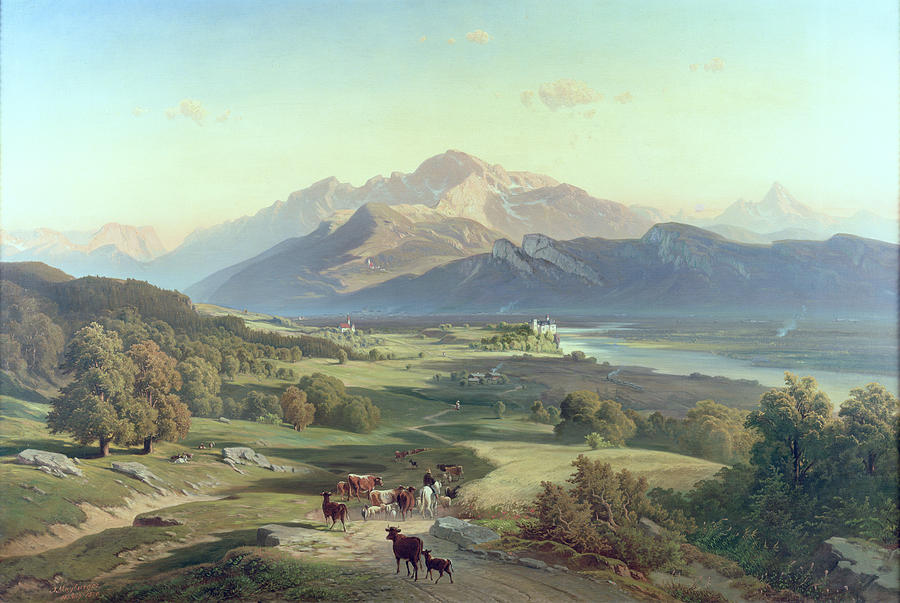 Salzburg Painting - Drover On Horseback With His Cattle In A Mountainous Landscape With Schloss Anif Salzburg And Beyond by Josef Mayburger