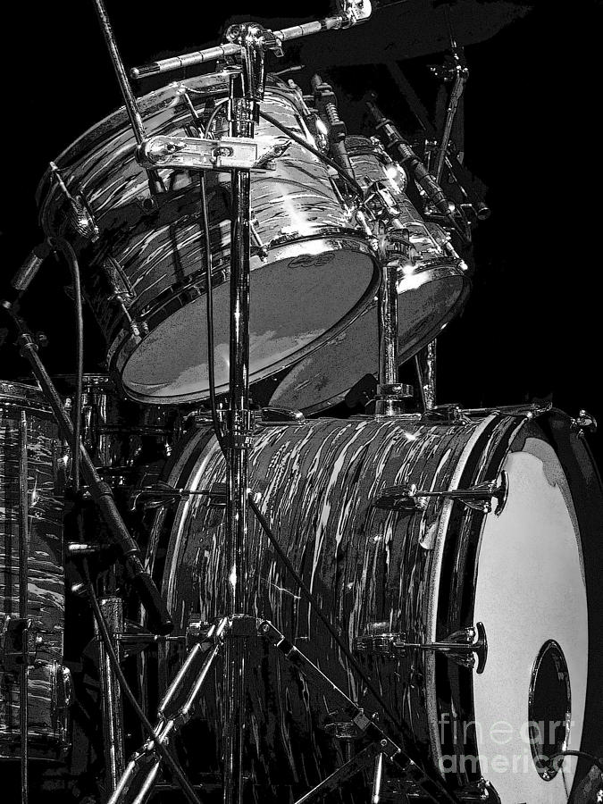 Drum Set Black And White Photograph By Rich Walter