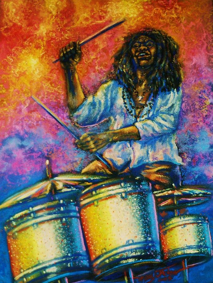 Musician Pastel - Drummer by Terry Jackson