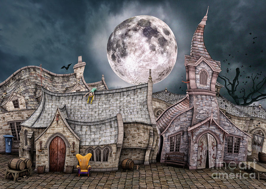 3d Digital Art - Drunken Village by Jutta Maria Pusl