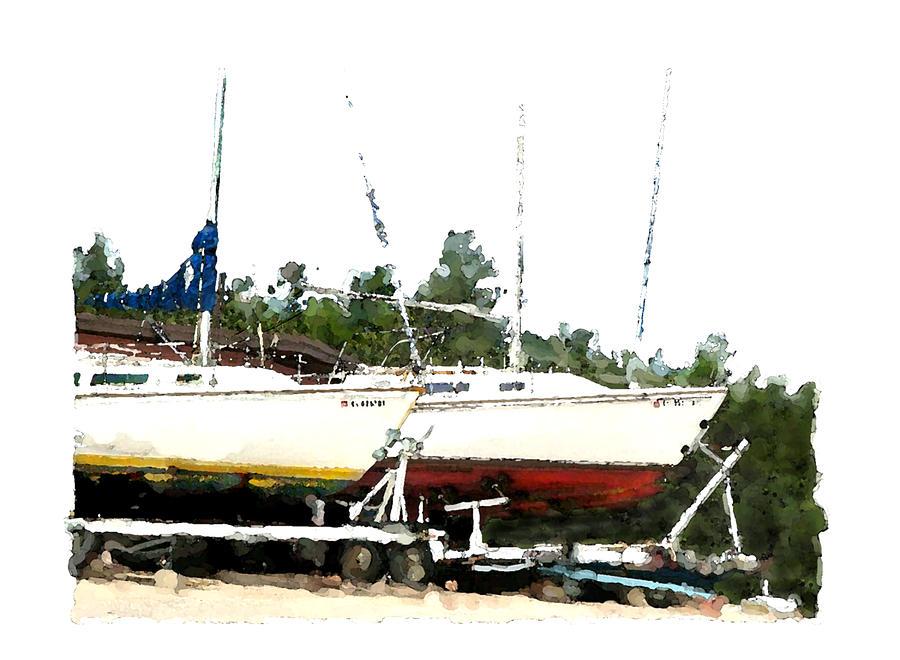 Boats Digital Art - Dry Dock by Brenda Leedy