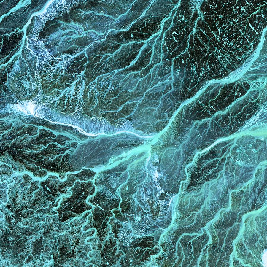 Wadi Photograph - Dry River Beds, Satellite Image by Nasa