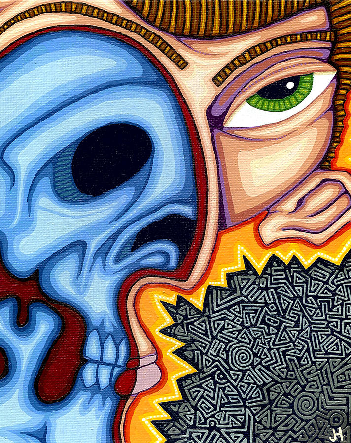 Skull Painting - Duality by Jason Hawn