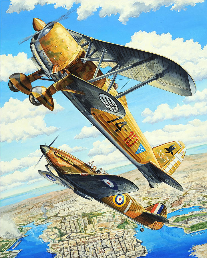 World War Ii Painting - Duel Over Malta by Charles Taylor