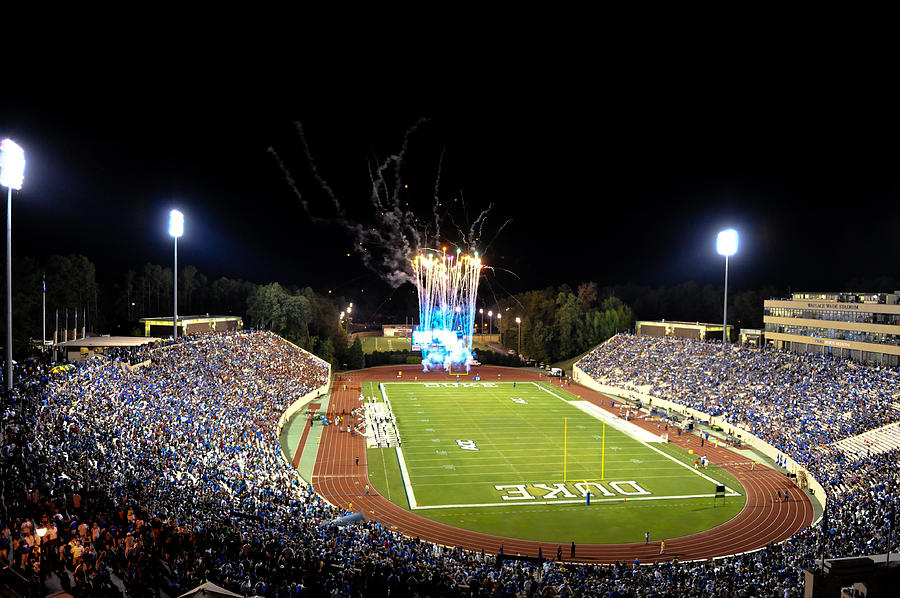 Duke Photograph - Duke Fireworks At A Packed Wallace Wade Stadium by Lance King