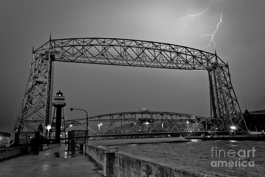 Lift Bridge Photograph - Duluth Lift Bridge Under Lightning by Ever-Curious Photography