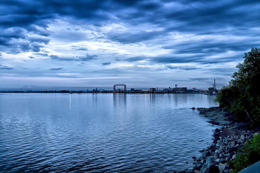 Beach Photograph - Duluth Minnesota Harbor at Night by Linda Tiepelman